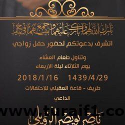 ناصر نويصر الرويلي يتشرف بدعوتكم لحفل زواجه