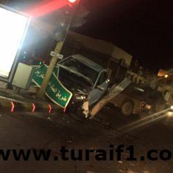 بالصور وقوع حادث بطريق الملك عبدالعزيز ليلة البارحة