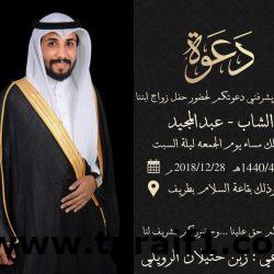 زبن حثيلان الرويلي يدعوكم لحضور حفل زفاف الشاب عبد المجيد