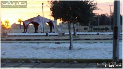 صور من ثلوج محافظة طريف صباح هذا اليوم الخميس