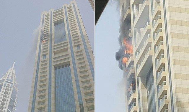 نشوب حريق كبير بأحد أطول أبراج دبي