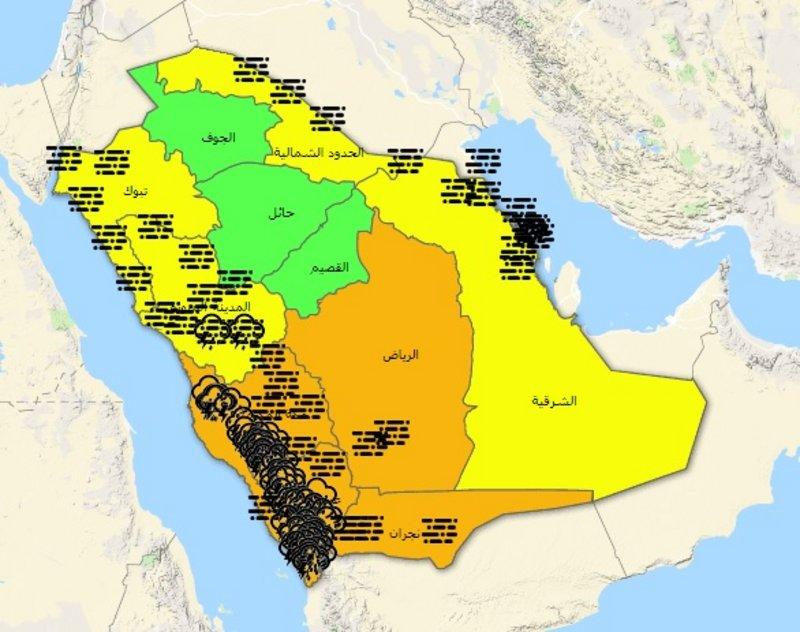 9 مناطق على خارطة تنبيهات الإنذار المبكر بينهم الحدود الشمالية اخبارية طريف