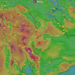 """""""الأرصاد"""": أمطار رعدية متوسطة إلى غزيرة مصحوبة بنشاط في الرياح على معظم المناطق"""