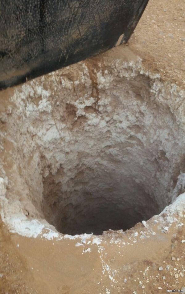 حفر على شكل آبار مكشوفة شرق طريف 10 كلم
